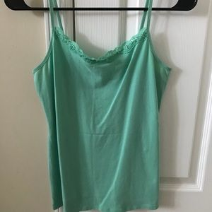 Teal tank top with sequence neckline